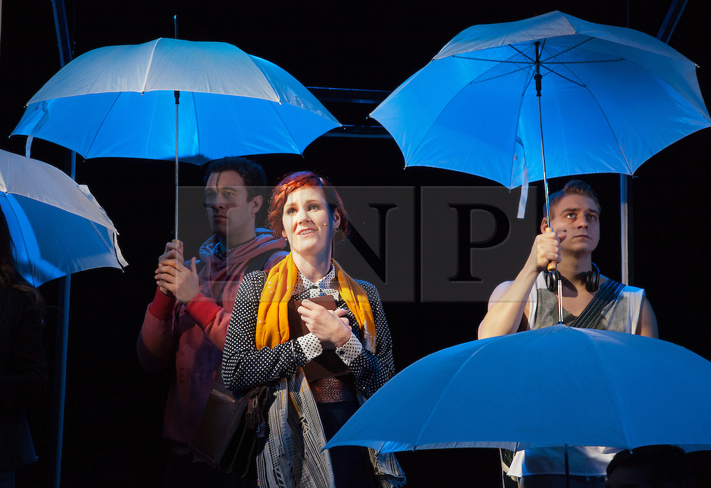 """© Licensed to London News Pictures. 31/01/2013. London, England. L-R: Robbie Towns as """"Tall, Dark and Handsome, Nikki Davis-Jones as """"Secretary"""" and Jonny Fines as """"Ballet Dancer"""". LIFT, world premiere of a new musical by Craig Adams and Ian Watson about love, life and loss in a London lift. Cast includes: Julie Atherton, Nikki Davis-Jones, Cynthia Erivo, Jonny Fines, Luke Kempner, Ellie Kirk, George Maguire, Robbie Towns. 30 January to 24 February 2013. Photo credit: Bettina Strenske/LNP"""