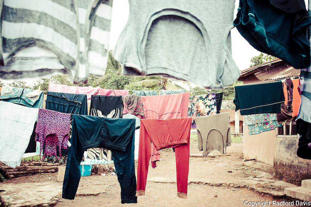 Clothes on a clotheslines in Kabala, Sierra Leone.