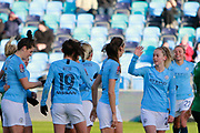Manchester City Women's midfielder Jill Scott (8) celebrates City's third goal during the FA Women's Super League match between Manchester City Women and Brighton and Hove Albion Women at the Sport City Academy Stadium, Manchester, United Kingdom on 27 January 2019.