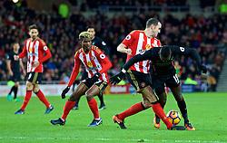 SUNDERLAND, ENGLAND - Monday, January 2, 2017: Liverpool's Sadio Mane is fouled by Sunderland's John O'Shea during the FA Premier League match at the Stadium of Light. (Pic by David Rawcliffe/Propaganda)
