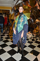ERIN O'CONNOR at a party to celebrate theunveiling of the Claridge's Christmas Tree designed by Christopher Bailey for Burberryheld at Claridge's, Brook Street, London on 18th November 2015.