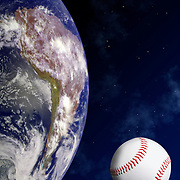 Studio shot of a baseball ball as a planet or moon in in orbit around the planet earth and against a space background.