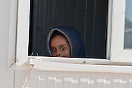 A Somali refugee childl guest of the Temporary accommodation center for immigrants in Eleonas of Athens, 11 Febraury 2016.<br /> The reception center in Eleonas of Athens, with a capacity of 720 persons, was opened in August 2015.