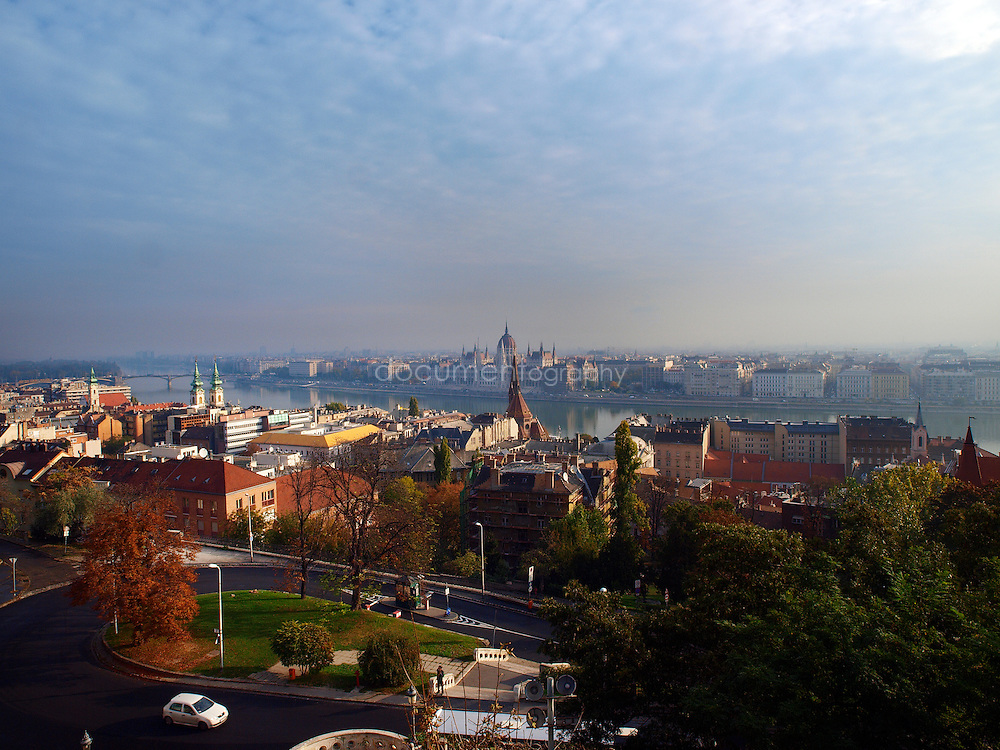 Panoramic view over te city of Budapest and the Danube river, Budapest, Hungary.