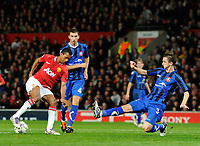 20111102: BARNSLEY, ENGLAND - UEFA Champions League Group C<br /> Manchester United vs CS Otelul Galati.<br /> In photo: Nani of Manchester United attempts to trick Cornel Rapa of Otelul Galati.<br /> PHOTO: CITYFILES