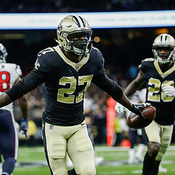 Aug 26, 2017; New Orleans, LA, USA; New Orleans Saints cornerback Damian Swann (27) celebrates after an interception during the second half of a preseason game against the Houston Texans at the Mercedes-Benz Superdome. The Saints defeated the Texans 13-0. Mandatory Credit: Derick E. Hingle-USA TODAY Sports