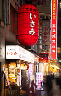 A huge red lantern and eon signs in the Kabukicho district, a popular centre of nightlife and entertainment in Tokyo, Honshu, Japan
