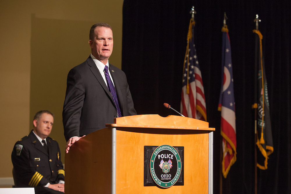 Director John Born of the Ohio Department of Public Safety spoke to the crowd of family members and friends at the Ohio University Police Departments' Badge Pinning ceremony.  Photo by Ohio University / Jonathan Adams