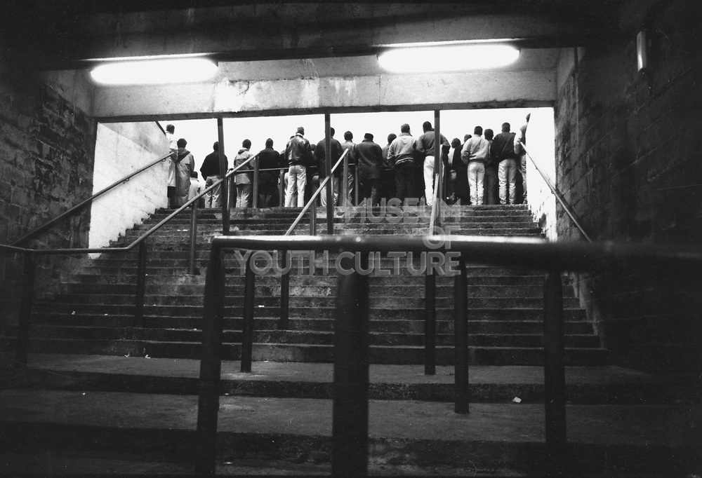 Football fans on the stands, Bouril Gate, c1980