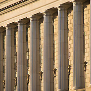 The southern side of the Department of Justice Building in Washington DC facing Constitution Avenue.