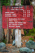 Glacier Point trail sign, Yosemite Valley, Yosemite National Park, California USA