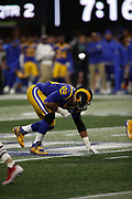 Los Angeles Rams defensive end Aaron Donald (99) in action during the NFL Super Bowl 53 football game against the New England Patriots on Sunday, Feb. 3, 2019, in Atlanta. The Patriots defeated the Rams 13-3. (©Paul Anthony Spinelli)