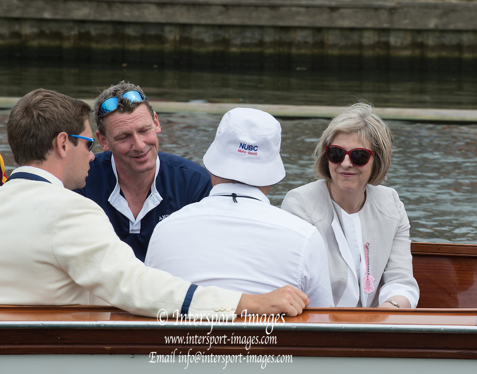 Henley, England.  GB Goverment, Home Secretary Teressa MAY, and MP for Maidenhead. 2015 Henley Royal Regatta, Henley Reach, River Thames, 14:47:41  Friday  03/07/2015   [Mandatory Credit. Peter SPURRIER/Intersport Images.