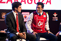 Cai Zaragoza player Tomas Bellas and Tv Host Luis Ladorrera during the presentation of the new season of La Liga Endesa 2016-2017 in Madrid. September 20, 2016. (ALTERPHOTOS/Borja B.Hojas)