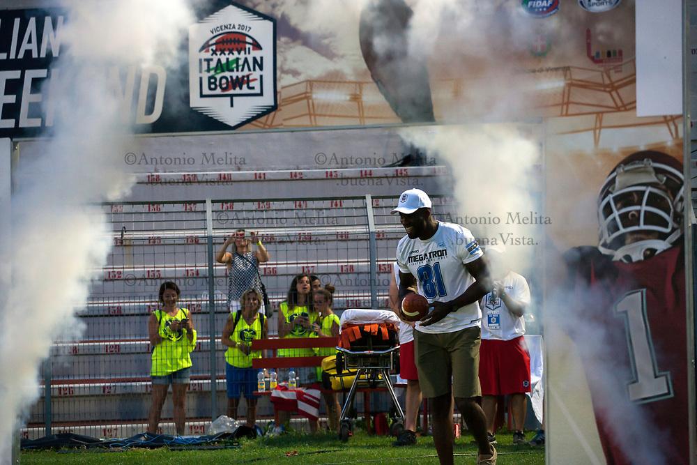 "Special guest dell'Italian Bowl 2017 Calvin ""Megatron"" Johnson ex wide receiver dei Detroit Lions della National Football League."