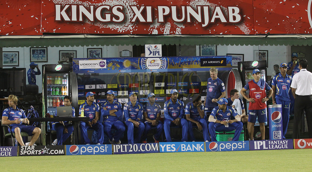 Mumbai Indians  players in dugout during match 48 of the Pepsi Indian Premier League Season 2014 between the Kings XI Punjab and the Mumbai Indians held at the Punjab Cricket Association Stadium, Mohali, India on the 21st May  2014<br /> <br /> Photo by Arjun Panwar / IPL / SPORTZPICS<br /> <br /> <br /> <br /> Image use subject to terms and conditions which can be found here:  http://sportzpics.photoshelter.com/gallery/Pepsi-IPL-Image-terms-and-conditions/G00004VW1IVJ.gB0/C0000TScjhBM6ikg