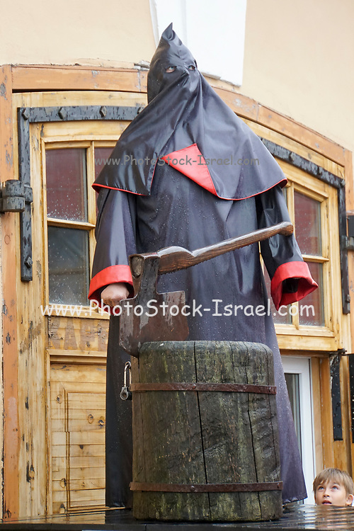 Statue of the executioner with ax and block near Peter and Paul fortress in Saint-Petersburg, Russia