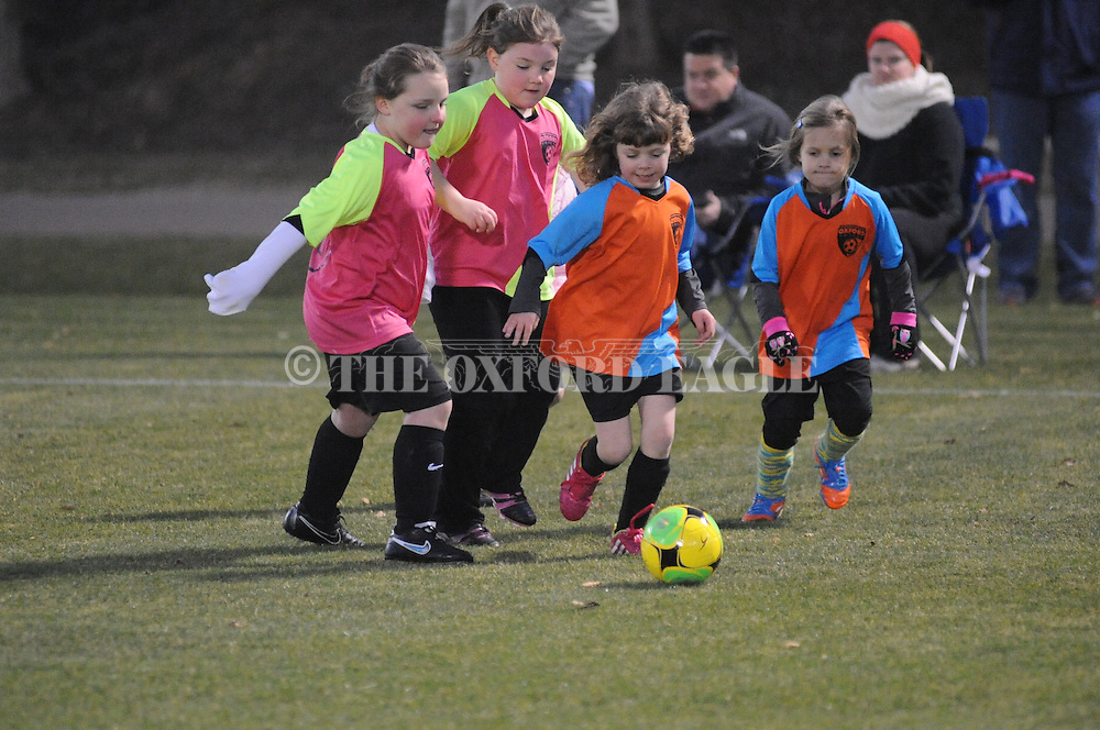 The Fillies vs. the Blue Jays in Oxford Park Commission girls U6 soccer action at FNC Park in Oxford, Miss. on Tuesday, February 10, 2015.