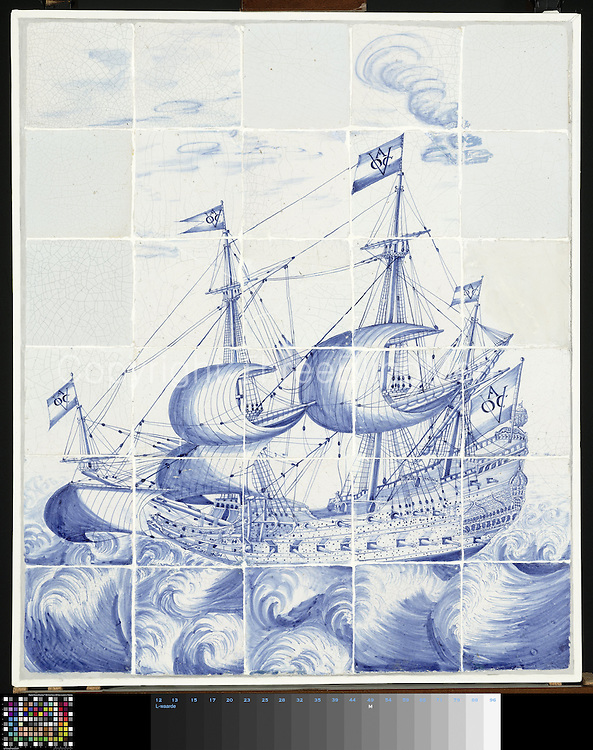 Tile panel of 30 tiles (6 x 5) with a blue painted ship with the flags marked by the East India Company, Chamber of Amsterdam VOC A.<br /> from Rijksmuseum. Public Domain