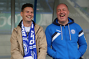 Keith Hill Rochdale manager shares a joke with Alex Ollier SkyBet  during the Sky Bet League 1 match between Rochdale and Blackpool at Spotland, Rochdale, England on 16 April 2016. Photo by Daniel Youngs.