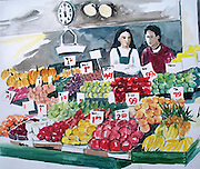 "Farmers' Market. Pike Place Market, Seattle, WA. Watercolor. 12x16"". ©JoAnn Hawkins."