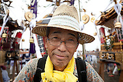 Portrait of a festival supporter at the Hamaorisai Matsuri, Chigasaki, Kanagawa, Japan Monday July 15th 2013. The festival starts early in the morning when around forty mikoshi are carried from shrines all over the area to Southern Beach, arriving in time for sunrise. They are then carried into the surf to honour the Marine Day national holiday