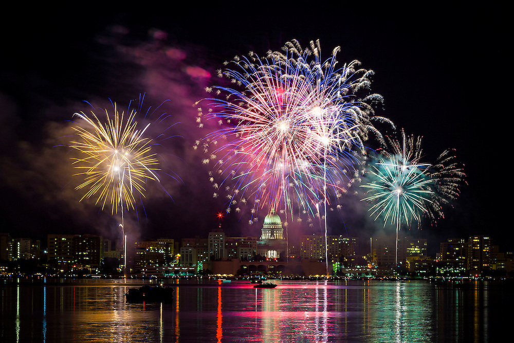 An annual fireworks display over the skyline of downtown Madison, Wis. (Photo © Andy Manis)