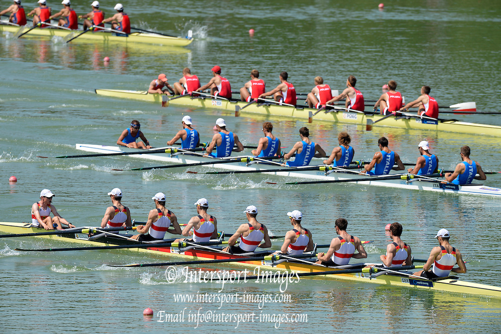 Plovdiv BULGARIA.   GER LM8+ winning the Men's Lightweight Eights. 2012 FISA Junior and Non Olympic . Rowing Championships, Plovdiv Rowing Course.     10:15:25  Saturday  18/08/2012 [Mandatory Credit Peter Spurrier: Intersport Images]...