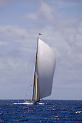 Cambria sailing in the Butterfly Race, the second race of the Antigua Classic Yacht Regatta.