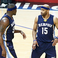 04 January 2017: Memphis Grizzlies forward Zach Randolph (50) talks to Memphis Grizzlies guard Vince Carter (15) during the LA Clippers 115-106 victory over the Memphis Grizzlies, at the Staples Center, Los Angeles, California, USA.