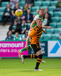 Hibernian's Martin Boyle and Alloa Athletic's Jon Robertson. Hibernian 2 v 0 Alloa Athletic, Betfred Cup game played Saturday 20th July at Easter Road, Edinburgh.