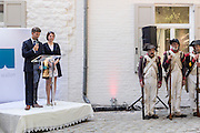 Belgium, Vieux-Genappe near Waterloo on 4th of June 2015. Official reopening of this former  farm, now a museum  where Emperor Napoleon and his staff spent the night of 17th June 1815. The last night before the battle of Waterloo.Opening speech of the museum