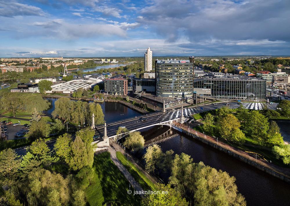 Aerial Tartu in Estonia. Pläsku, Tasku and river Emajõgi. Bridge, Tigutorn.