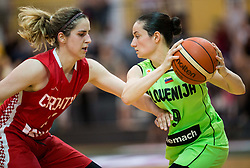 Ruzica Dzankic of Croatia vs Nika Baric of Slovenia during friendly basketball match between Women National teams of Slovenia and Croatia before FIBA Eurobasket Women 2017 in Prague, on June 1, 2017 in Celje, Slovenia. Photo by Vid Ponikvar / Sportida