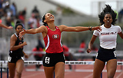 May 19, 2018; Torrance, CA, USA; Nyree Brown of Segerstrom celebrates after winning the Division I girls 300m hurdles in 41.86 during the CIF Southern Section Finals  at El Camino College.