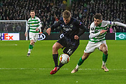 Pep Biel of FC Copenhagen is chased by Greg Taylor of Celtic FC during the Europa League match between Celtic and FC Copenhagen at Celtic Park, Glasgow, Scotland on 27 February 2020.