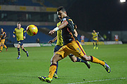 Bradford City defender James Meredith (3) crosses the ball 0-0 during the EFL Trophy match between Oxford United and Bradford City at the Kassam Stadium, Oxford, England on 31 January 2017. Photo by Alan Franklin.