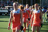 BREDA -  Ireen van den Assem (Ned) en Carlien Dirkse van den Heuvel (Ned)    na  de finale  Nederland-Japan (8-2) van de 4 Nations Trophy dames 2018 . COPYRIGHT KOEN SUYK