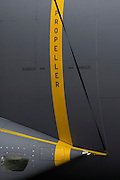 Detail of danger warning signs on the fuselage of an Airbus A400M military transporter at the Farnborough Air Show, UK.