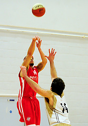 Bristol Academy Flyers' Doug McLaughlin-Williams shoots - Photo mandatory by-line: Dougie Allward/JMP - Tel: Mobile: 07966 386802 23/03/2013 - SPORT - Basketball - WISE Basketball Arena - SGS College - Bristol -  Bristol Academy Flyers V Essex Leopards