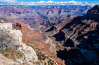 United States, Arizona, Grand Canyon. Trailview Overlook, the first lookout along the West Rim Drive with a view of Bright Angel Trail.