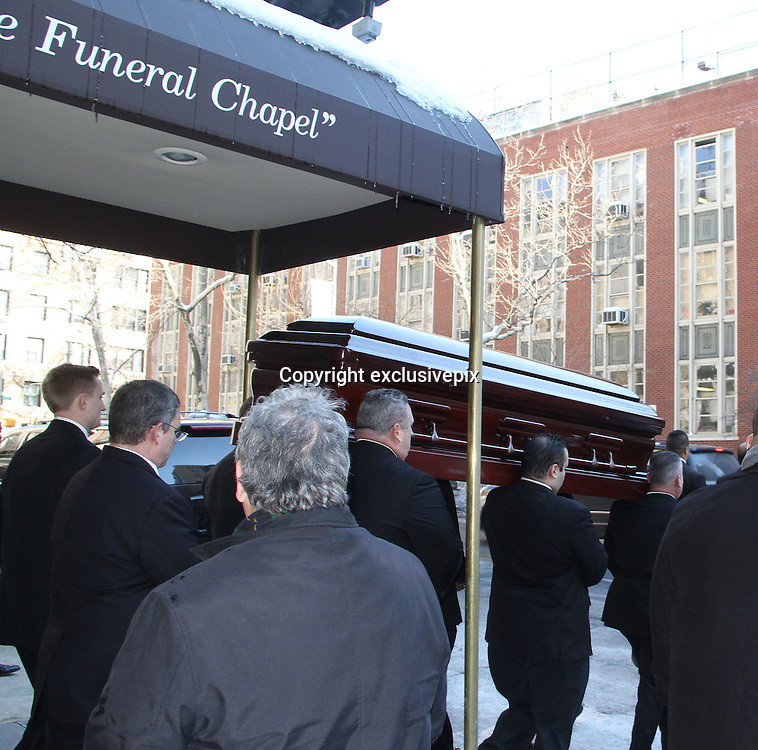 Feb. 7, 2014 - New York, New York, U.S. - <br /> <br /> The casket for actor Philip Seymour Hoffman leaves the Frank E. Campbell Funeral Home on the Upper East Side. Hoffman died of a suspected heroin overdose on February 2.<br /> &copy;exclusivepix