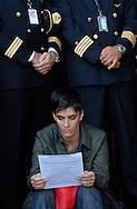 Fiumicino, 16/09/2008: Aereoporto di Fiumicino, piloti e assistenti di volo protestano davanti al varco equipaggi.©Andrea Sabbadini