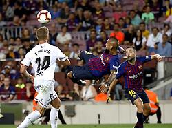 2 th, September  2018, Camp Nou, Barcelona, Spain. ..La Liga, partido entre el FC Barcelona y el SD Huesca...El Chileno (22) Arturo Vidal remata de chilena en el interior del ‡rea...El partido ha finalizado 8-2 con goles de (10) Messi (2), J.Pulido   Su‡rez   DembŽlŽ, (04) Rakitic y (18) Jordi Alba...© Joan Gosa 2018/Xinhua 2018. (Credit Image: © Joan Gosa/Xinhua via ZUMA Wire)