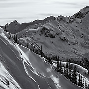Kevin Sansalone lays into a wind lip in the Whistler backcountry.