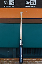 SAN FRANCISCO, CA - APRIL 26:  General view of a baseball bat in the dugout before the game between the San Francisco Giants and the Cleveland Indians at AT&T Park on April 26, 2014 in San Francisco, California. The San Francisco Giants defeated the Cleveland Indians 5-3.  (Photo by Jason O. Watson/Getty Images) *** Local Caption ***