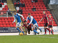 30th December 2017, McDiarmid Park, Perth, Scotland; Scottish Premiership football, St Johnstone versus Dundee; Dundee's Mark O'Hara and St Johnstone's David Wotherspoon battle for a loose ball