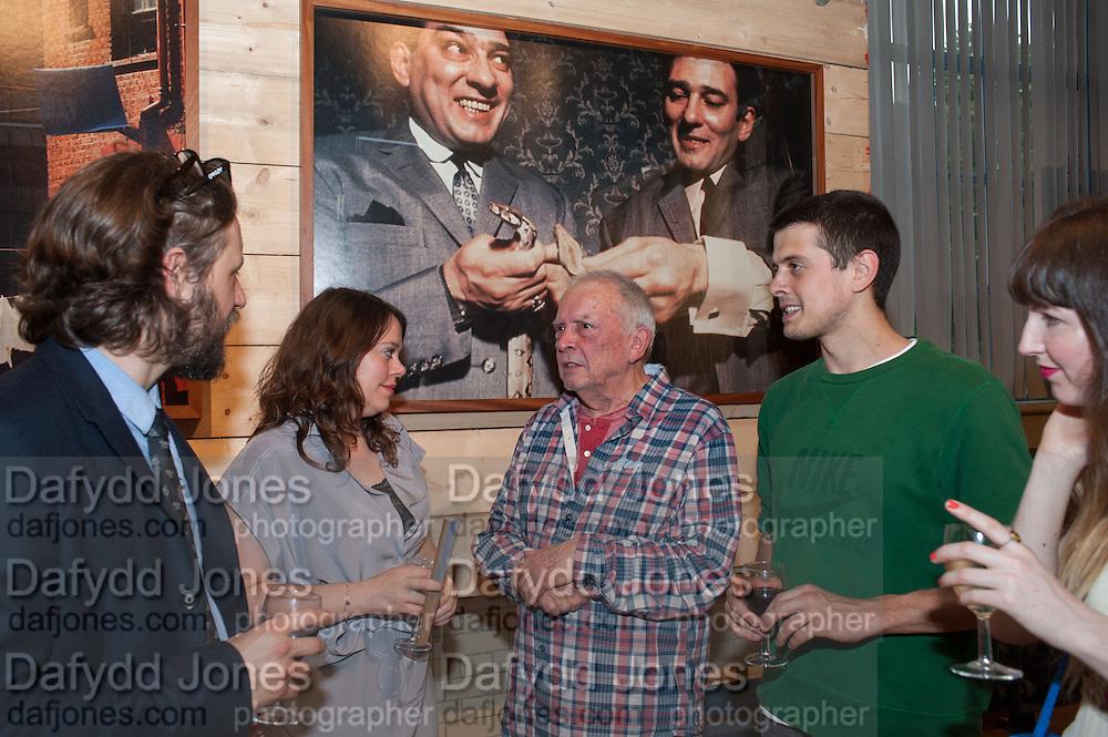 MARK PATTENDON; DANIELLE EDWARDS;DAVID BAILEY;   FENTON BAILEY, David Bailey's East End, Compressor House, Dockside Road, Royal Docks, Newham, 4 July 2012.