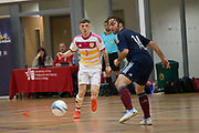 Former Dundee FC youth striker Lee Cameron (now of Dundee Stars Ltd) takes on AK Futsal Spanish player Jesus Perez during North v South exhibition match in the Scottish Futsal Finals day at Perth College, Perth, Photo: David Young<br /> <br />  - © David Young - www.davidyoungphoto.co.uk - email: davidyoungphoto@gmail.com