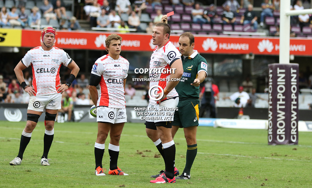 DURBAN, SOUTH AFRICA - APRIL 04: Patrick Lambie (Captain) of the Cell C Sharks looks on as Referee:Stuart Berry (South Africa) shows  Jean Deysel (captain) of the Cell C Sharks a red card during the Super Rugby match between Cell C Sharks and Crusaders at Growthpoint Kings Park on April 04, 2015 in Durban, South Africa. (Photo by Steve Haag/Gallo Images)
